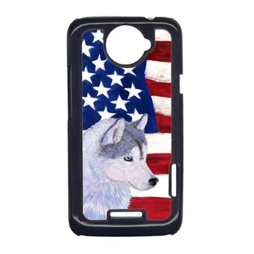 Carolines Treasures SS4220HTCONE USA American Flag With Siberian Husky HTC One X Cell Phone Cover