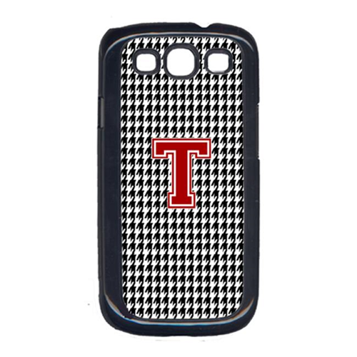 Carolines Treasures CJ1021-T-GALAXYSIII 3 x 5 in. Houndstooth Black Letter T Monogram Initial Cell Phone Cover for Galaxy S111