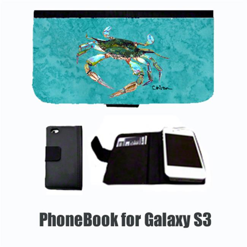 Carolines Treasures 8657-NBGALAXYS3 Crab on teal Cell Phonebook Cell Phone case Cover for GALAXY S3