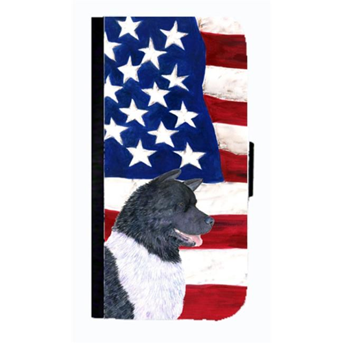 Carolines Treasures SS4005NBGALAXYS3 USA American Flag With Akita Cell Phonebook Case Cover For Galaxy S3