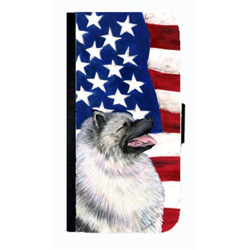 Carolines Treasures SS4051NBGALAXYS4 USA American Flag With Keeshond Cell Phonebook Case Cover For Galaxy 4S