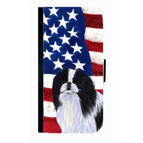 Carolines Treasures SS4223NBGALAXYS4 USA American Flag With Japanese Chin Cell Phonebook Case Cover For Galaxy 4S