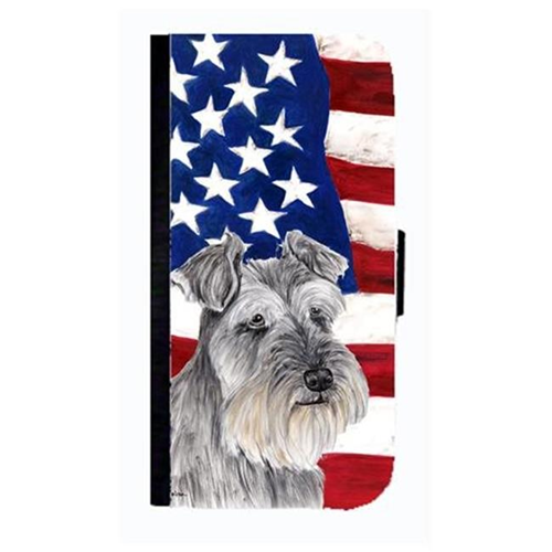 Carolines Treasures SC9110NBGALAXYS4 USA American Flag With Schnauzer Cell Phonebook Case Cover For Galaxy 4S