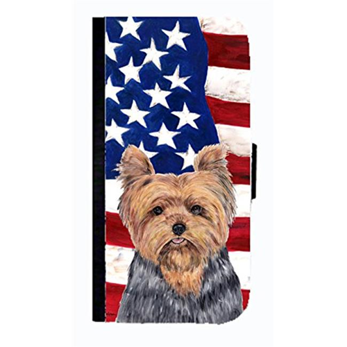 Carolines Treasures SC9111NBGALAXYS4 USA American Flag With Yorkie Cell Phonebook Case Cover For Galaxy 4S
