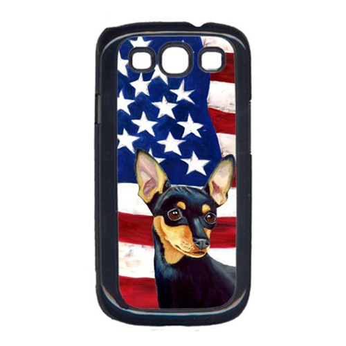 Carolines Treasures LH9004GALAXYS3 USA American Flag with Min Pin Cell Phone Cover GALAXY S111