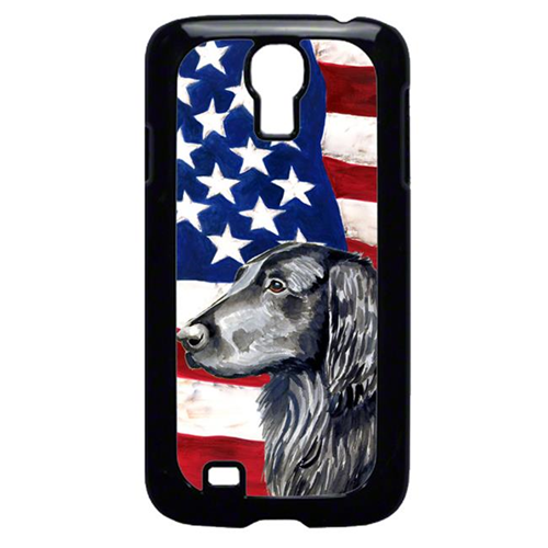 Carolines Treasures LH9021GALAXYS4 USA American Flag with Flat Coated Retriever Cell Phone Cover GALAXY S4