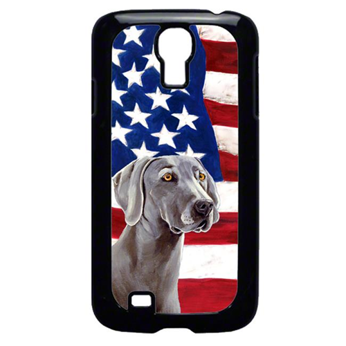 Carolines Treasures LH9001GALAXYS4 USA American Flag with Weimaraner Cell Phone Cover GALAXY S4