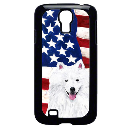 Carolines Treasures SC9023GALAXYS4 USA American Flag with American Eskimo Cell Phone Cover GALAXY S4