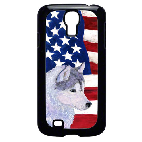 Carolines Treasures SS4220GALAXYS4 USA American Flag With Siberian Husky Galaxy S4 Cell Phone Cover