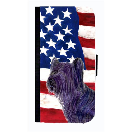 Carolines Treasures SS4219NBGALAXYS3 USA American Flag With Skye Terrier Cell Phonebook Case Cover For Galaxy S3