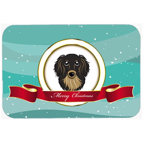 Carolines Treasures BB1523MP Longhair Black And Tan Dachshund Merry Christmas Mouse Pad Hot Pad & Trivet