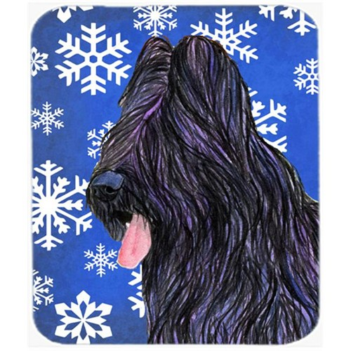 Carolines Treasures SS4627MP Briard Winter Snowflakes Holiday Mouse Pad Hot Pad or Trivet