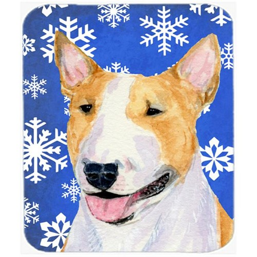 Carolines Treasures SS4634MP Bull Terrier Winter Snowflakes Holiday Mouse Pad Hot Pad or Trivet