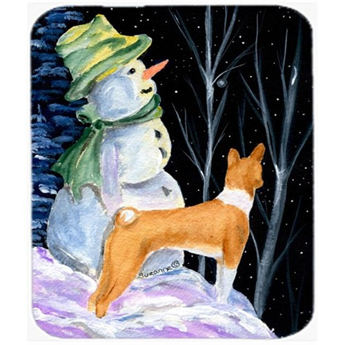 Carolines Treasures SS8556MP Snowman With Basenji Mouse Pad Hot Pad Or Trivet
