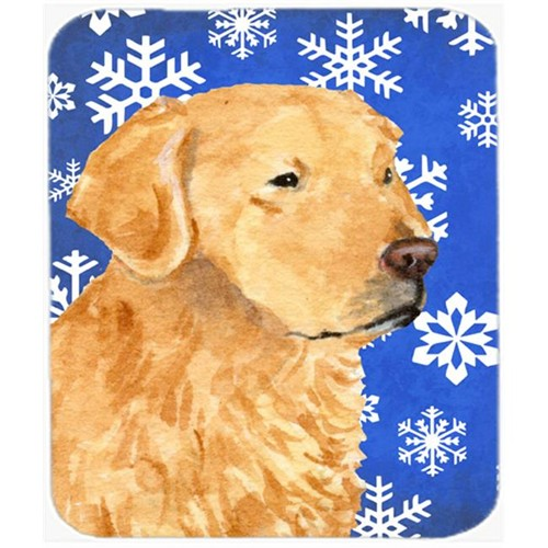 Carolines Treasures SS4614MP Golden Retriever Winter Snowflakes Holiday Mouse Pad Hot Pad Or Trivet