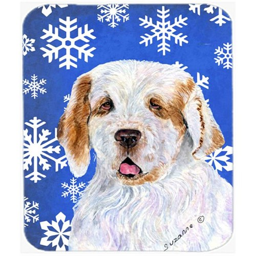 Carolines Treasures SS4638MP Clumber Spaniel Winter Snowflakes Holiday Mouse Pad Hot Pad or Trivet