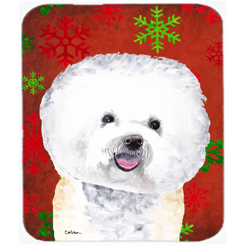Carolines Treasures SC9402MP Bichon Frise Red And Green Snowflakes Christmas Mouse Pad Hot Pad Or Trivet