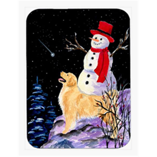 Carolines Treasures SS8579MP Golden Retriever With Snowman In Red Hat Mouse Pad & Hot Pad Or Trivet