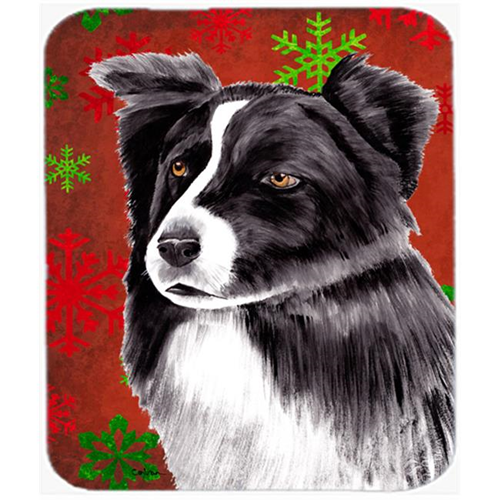 Carolines Treasures SC9407MP Border Collie Red And Green Snowflakes Christmas Mouse Pad Hot Pad Or Trivet