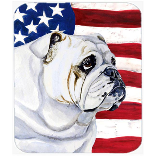 Carolines Treasures LH9019MP Usa American Flag With English Bulldog Mouse Pad Hot Pad Or Trivet