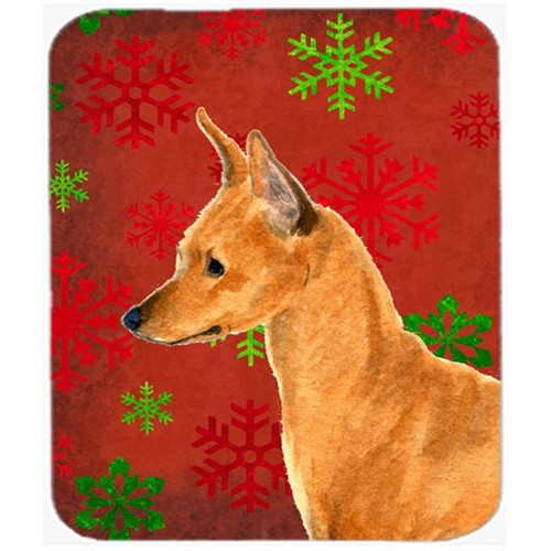 Carolines Treasures SS4673MP Min Pin Red and Green Snowflakes Holiday Christmas Mouse Pad Hot Pad or Trivet