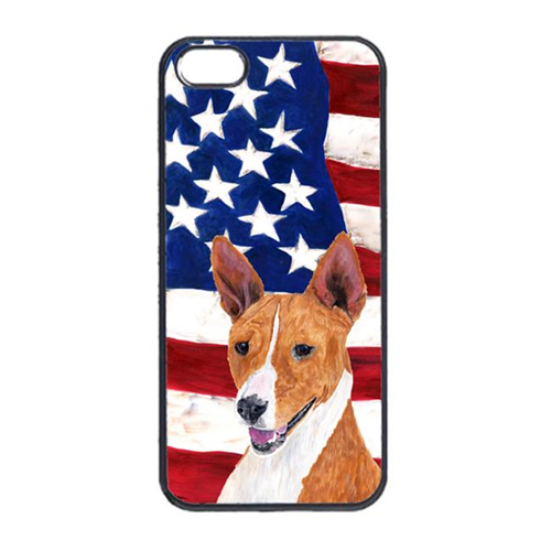Carolines Treasures SC9033IP4 USA American Flag With Basenji Iphone 4 Cover