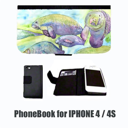 Carolines Treasures 8544-NBIP4 Manatee Cell Phonebook Cell Phone case Cover for IPHONE 4 or 4S