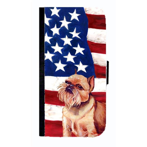 Carolines Treasures LH9023NBGALAXYS4 USA American Flag With Brussels Griffon Cell Phonebook Cover For Galaxy 4S