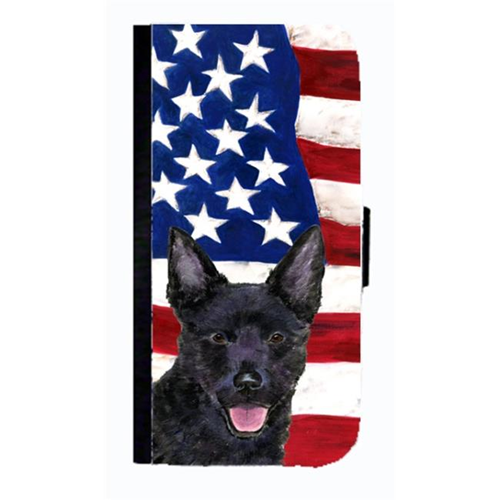 Carolines Treasures SS4025NBGALAXYS4 USA American Flag With Australian Kelpie Cell Phone Case Cover For Galaxy 4S