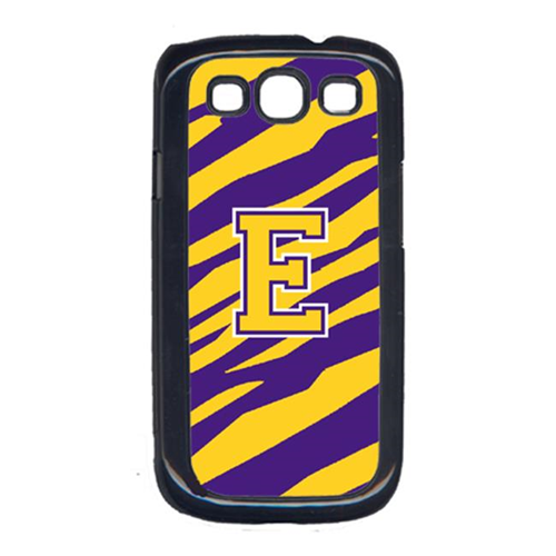 Carolines Treasures CJ1022-E-GALAXYSIII Tiger Stripe - Purple Gold Letter E Monogram Initial Galaxy S111 Cell Phone Cover