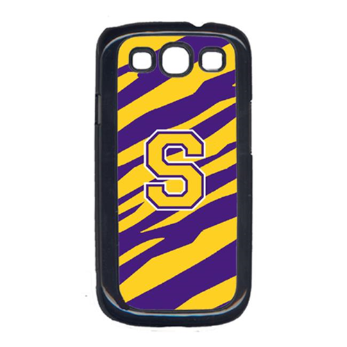 Carolines Treasures CJ1022-S-GALAXYSIII Tiger Stripe - Purple Gold Letter S Monogram Initial Galaxy S111 Cell Phone Cover