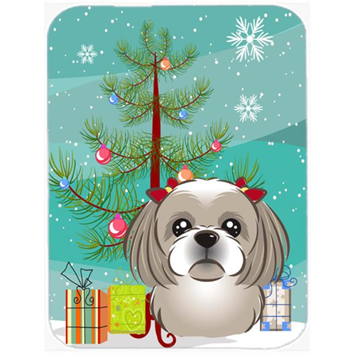 Carolines Treasures BB1622MP Christmas Tree And Gray Silver Shih Tzu Mouse Pad Hot Pad & Trivet