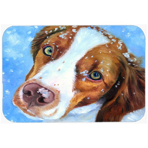 Carolines Treasures 7348MP Snow Baby Brittany Spaniel Mouse Pad Hot Pad & Trivet