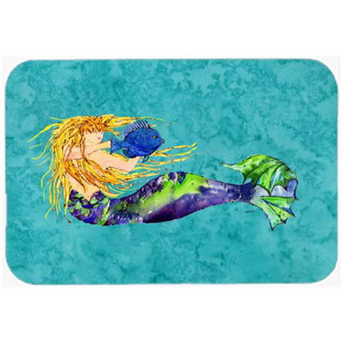 Carolines Treasures 8724MP Blonde Mermaid On Teal Mouse Pad Hot Pad & Trivet