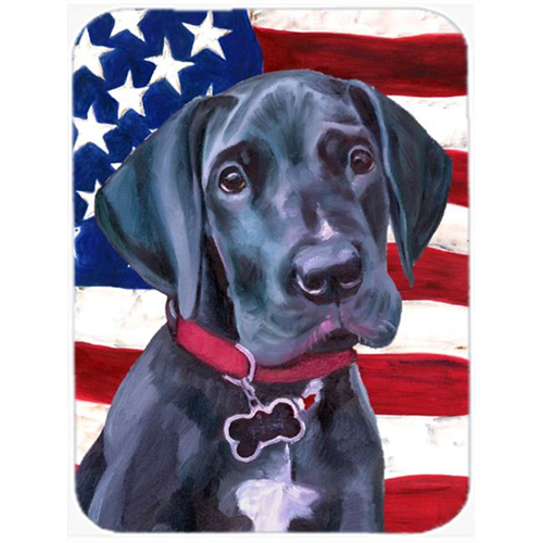Carolines Treasures LH9544MP Black Great Dane Puppy Usa Patriotic American Flag Mouse Pad Hot Pad & Trivet