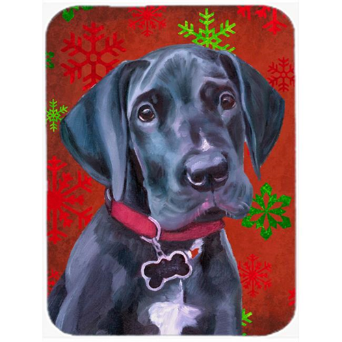 Carolines Treasures LH9579MP Black Great Dane Puppy Red Snowflakes Holiday Christmas Mouse Pad Hot Pad & Trivet