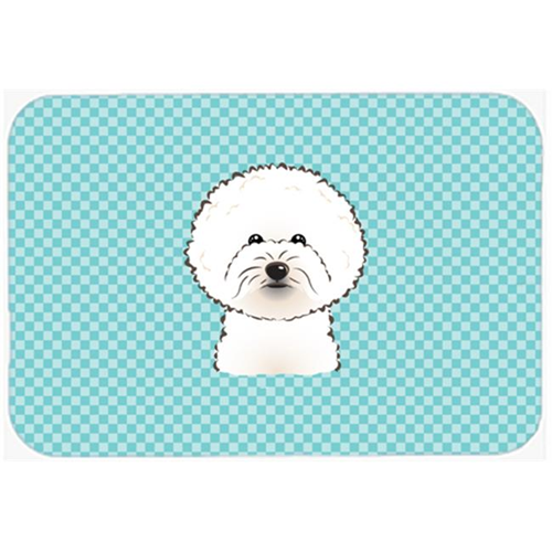 Carolines Treasures BB1155MP Checkerboard Blue Bichon Frise Mouse Pad Hot Pad Or Trivet 7.75 x 9.25 In.