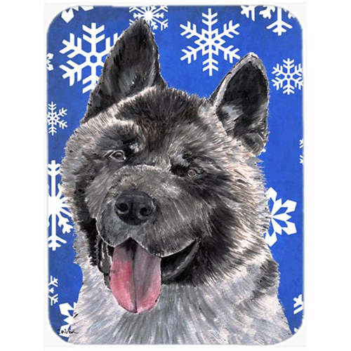 Carolines Treasures SC9481MP 7.75 x 9.25 In. Akita Winter Snowflakes Holiday Mouse Pad Hot Pad Or Trivet