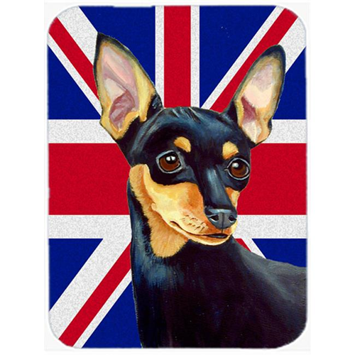 Carolines Treasures LH9487MP 7.75 x 9.25 In. Min Pin With English Union Jack British Flag Mouse Pad Hot Pad Or Trivet