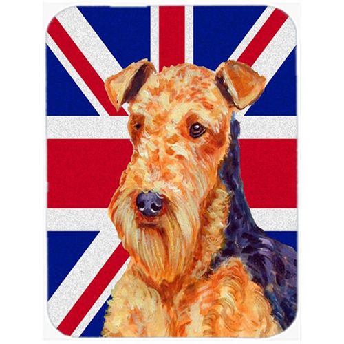 Carolines Treasures LH9488MP 7.75 x 9.25 In. Airedale With English Union Jack British Flag Mouse Pad Hot Pad Or Trivet