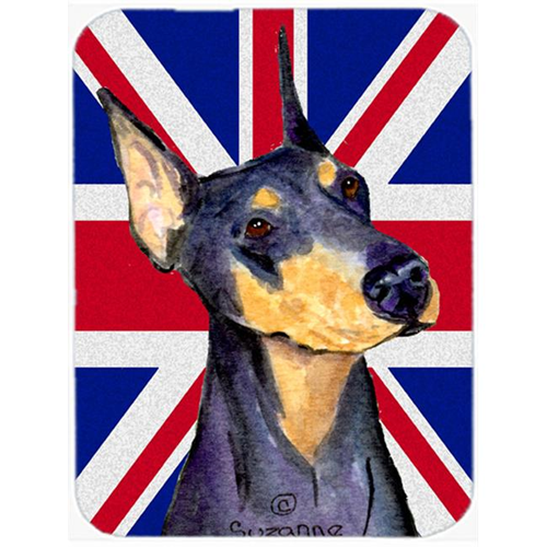 Carolines Treasures SS4937MP 7.75 x 9.25 In. Doberman With English Union Jack British Flag Mouse Pad Hot Pad Or Trivet
