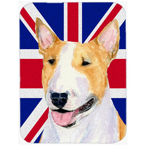 Carolines Treasures SS4938MP 7.75 x 9.25 In. Bull Terrier With English Union Jack British Flag Mouse Pad Hot Pad Or Trivet