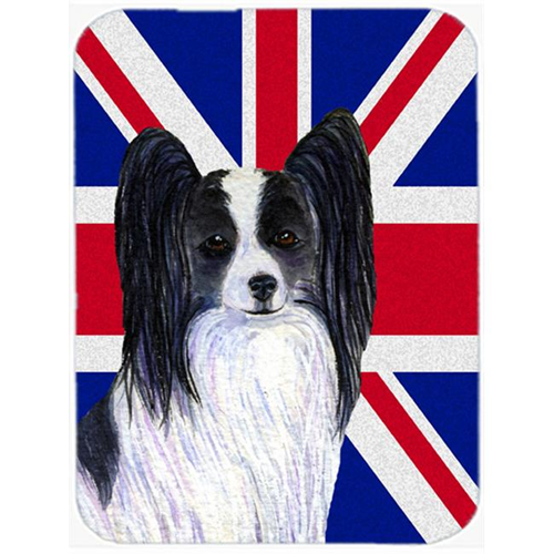 Carolines Treasures SS4947MP 7.75 x 9.25 In. Papillon With English Union Jack British Flag Mouse Pad Hot Pad Or Trivet
