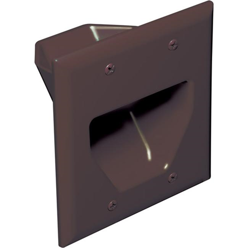 Datacomm 45-0002-BR 2-Gang Recessed Low Voltage Cable Plate - Brown