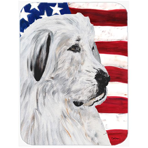 Carolines Treasures SC9642MP Great Pyrenees With American Flag Usa Mouse Pad Hot Pad Or Trivet 7.75 x 9.25 In.