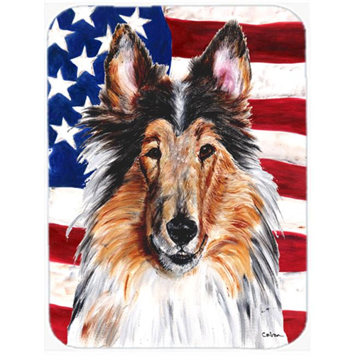 Carolines Treasures SC9622MP Collie With American Flag Usa Mouse Pad Hot Pad Or Trivet 7.75 x 9.25 In.