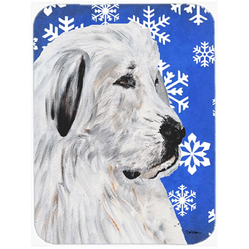 Carolines Treasures SC9786MP Great Pyrenees Winter Snowflakes Mouse Pad Hot Pad Or Trivet 7.75 x 9.25 In.