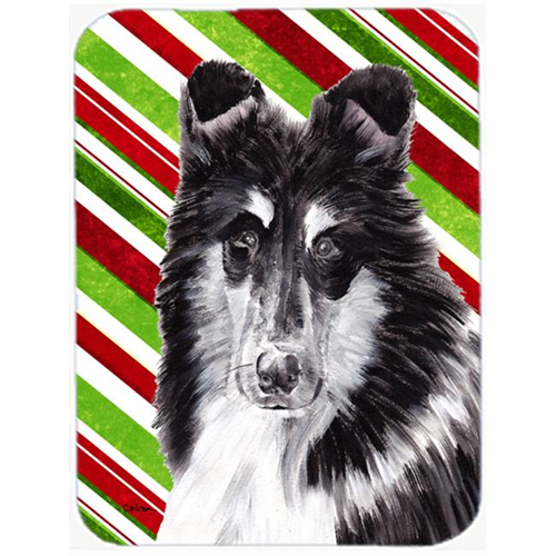 Carolines Treasures SC9798MP Black And White Collie Candy Cane Christmas Mouse Pad Hot Pad Or Trivet 7.75 x 9.25 In.