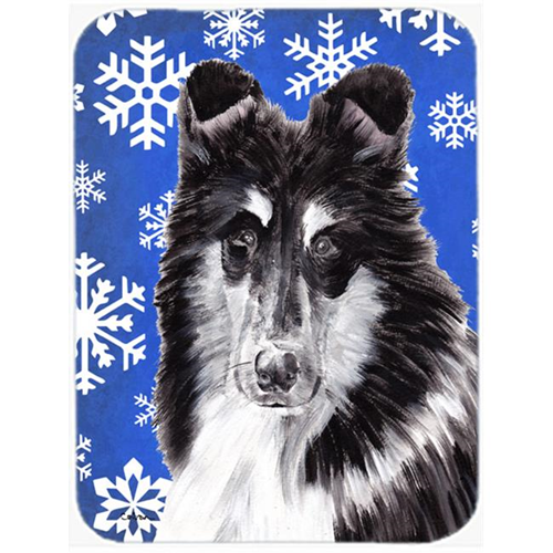 Carolines Treasures SC9774MP Black And White Collie Winter Snowflakes Mouse Pad Hot Pad Or Trivet 7.75 x 9.25 In.