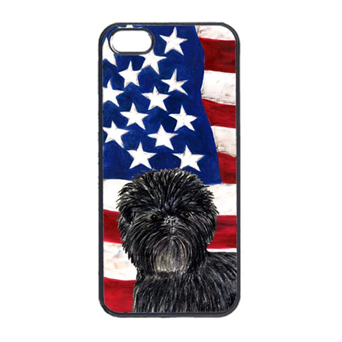 Carolines Treasures SS4038IP4 USA American Flag With Affenpinscher Iphone 4 Cover
